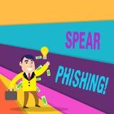 Lance Phishing d'écriture des textes d'écriture Signification de concept envoyant de faux emails pour extraire des données financ illustration stock