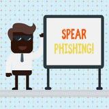 Lance Phishing d'apparence de signe des textes Photo conceptuelle envoyant de faux emails pour extraire des donn?es financi?res ? illustration stock