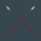 Lance tool two crossed ancient spears flat vector Royalty Free Stock Photos