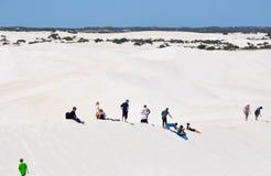 Lancelin Dunes: Tourists and Desert Landscape royalty free stock photography