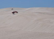 Lancelin: White Dunes with Dune Buggy in Western Australia Royalty Free Stock Photo