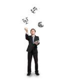 Lancement d'homme d'affaires et symboles contagieux d'argent de ruban Photographie stock libre de droits
