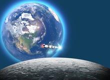 Lancement de la fus?e Saturn v vers la lune, le ciquanti?me anniversaire de l'alunissage Mission 11 d'Apollo La terre et lune ded illustration de vecteur