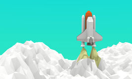 Lancement de navette spatiale Bas-poly Photographie stock