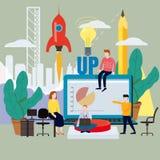 Lancement de projet d'affaires, idées de processus de concept à l'exécution, consolidation de projet, planification, équipe de illustration libre de droits