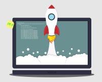 Lancement de Rocket de l'ordinateur portable Concept de création d'entreprise Photos libres de droits