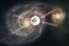 Lancement de vaisseau spatial dans l'espace Beauté d'espace extra-atmosphérique Milliards de galaxies dans l'univers Éléments de  photo stock