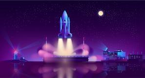 Lancement de vaisseau spatial de vecteur de flottement de plate-forme illustration stock