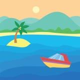 Lancement sur l'eau Paysage tropical avec le bateau, océan, ciel, le soleil illustration libre de droits