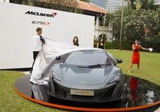 Lancering van McLaren 675LT door Jenson Button Stock Fotografie