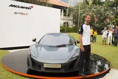 Lancering van McLaren 675LT door Jenson Button Royalty-vrije Stock Foto's