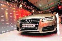 Lancering van nieuw Audi A7, op vertoning, in Audi Fashion Festival 2011 Royalty-vrije Stock Foto's