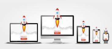 Lanceringsapp project op al apparatenconcept Raketvlieg uit monitor, laptop, tabletpc, slim telefoon en horloge Opstarten, busin vector illustratie
