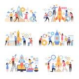 Lanceringsopstarten van bedrijven Het idee van het van het bedrijfs raket de succesvolle bedrijf nieuwe werkende managers van de  vector illustratie