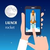 Lanceringsraket het concept nieuw bedrijfsproject en lanceert een nieuw innovatieproduct op een markt Royalty-vrije Stock Foto's