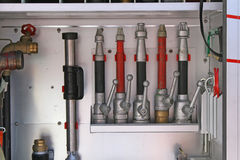 Lances used to extinguish fires by firefighters inside the truck. Lances used to extinguish fires by firefighters Royalty Free Stock Photo