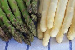 Lances vertes et blanches fraîchement sélectionnées d'asperge Images stock