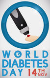 Lancet Pricking a Finger Measuring Sugar Levels in Diabetes Day, Vector Illustration. Commemorative poster for World Diabetes Day with greeting message, date Stock Images
