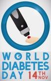 Lancet Pricking a Finger Measuring Sugar Levels in Diabetes Day, Vector Illustration Stock Images