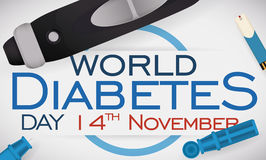 Lancet with Test Strip in Commemorative Design for Diabetes Day, Vector Illustration Stock Photo