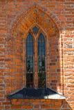 Lancet window in a Catholic church of Saint Catherine of Alexandria. Braniewo, Poland Royalty Free Stock Photography