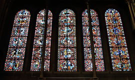 Lancet windows of Church of Notre-Dame, Dijon, France Royalty Free Stock Photo