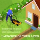 Lanceur d'illustration de vecteur de votre pelouse, bande dessinée illustration libre de droits