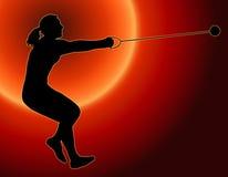 Lanceur de marteau arrière de dames de coucher du soleil Images libres de droits