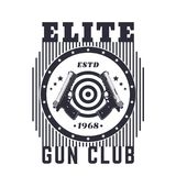 Lancez l'emblème de vintage de club, copie avec des pistolets illustration libre de droits