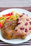 Lancez le poulet avec du riz - type des Caraïbes Images stock