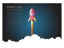 Lancez le vol de fusée d'espace sur le fond blanc, le style de papier d'art pour commencent le concept d'affaires illustration stock