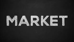 Lancez manuscrit sur le marché avec la craie blanche sur un tableau noir illustration de vecteur
