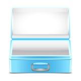 Lancheira azul vazia no fundo branco Foto de Stock