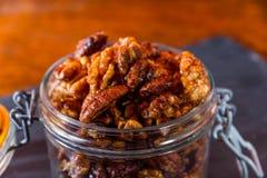 Lanci con aglio misto ed i dadi arrostiti rosmarini, macro Fotografie Stock