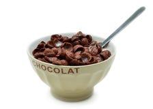 Lanci con i fiocchi di granturco, i cereali ed il latte del cioccolato Fotografie Stock Libere da Diritti