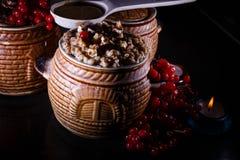 Lanci con il kutia - pasto dolce di Natale tradizionale in Ucraina, in Bielorussia ed in Polonia Fotografia Stock Libera da Diritti