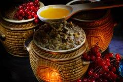 Lanci con il kutia - pasto dolce di Natale tradizionale in Ucraina, in Bielorussia ed in Polonia Fotografia Stock