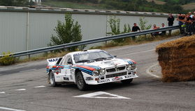 Lancia 037 in action. A beautiful and rare Lancia 037 accelerating during a the Rally Legend in San Marino, Italy, 2006 Royalty Free Stock Photo