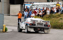 Lancia 037 in action. A beautiful and rare Lancia 037 accelerating during a the Rally Legend in San Marino, Italy, 2006 Royalty Free Stock Images