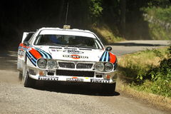 Lancia 037 rally car. A Lancia 037 Martini  during the 40th edition of the San Marino Rally, valid for the European Historic Rally Car Championship Stock Image