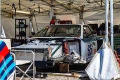 Lancia Beta Montecarlo turbo dans le salon automobile montjuic de circuit de Barcelone d'esprit photo stock