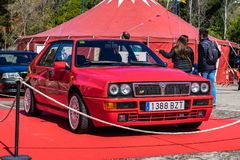 Lancia Delta HF Integrale EVO II in montjuic spirit Barcelona circuit car show.  stock images