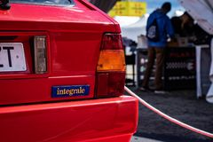 Lancia Delta HF Integrale EVO II in montjuic spirit Barcelona circuit car show.  stock photos