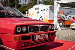 Lancia Delta HF Integrale EVO II in montjuic spirit Barcelona circuit car show.  royalty free stock photography