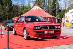 Lancia Delta HF Integrale EVO II in montjuic spirit Barcelona circuit car show.  royalty free stock photos