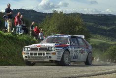 Lancia Delta HF Martini. On race during the 10th edition of Rally Legend  historical rally in San Marino repubblic ; 14th october 2012 Royalty Free Stock Image