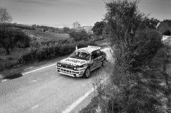 LANCIA DELTA INT samlar den gamla tävlings- bilen 16V 1991 Arkivbilder