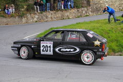 Lancia Delta race during the 64th Sanremo rally. Conducted in the race crew Lucky-Pons Royalty Free Stock Photos