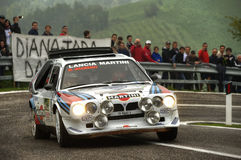 Lancia Delta S4 Martini. On race during the 10th edition of Rally Legend  historical rally in San Marino repubblic ; 14th october 2012 Royalty Free Stock Photos