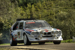 Lancia Delta S4 Martini. On race during the 10th edition of Rally Legend  historical rally in San Marino repubblic ; 14th october 2012 Royalty Free Stock Image